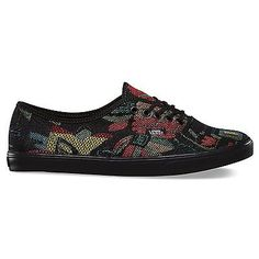 Vans AUTÊNTICOS LO PRO Tapeçaria black/black Floral Feminino Skate sapatos tamanho 7