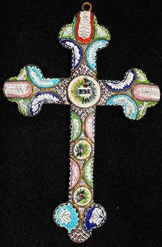 Antique micro mosaic cross crucifix - Edwardian - Roma -Pristine
