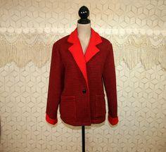 80s Black Red Plaid Coat Wool Fleece Jacket Women by MagpieandOtis