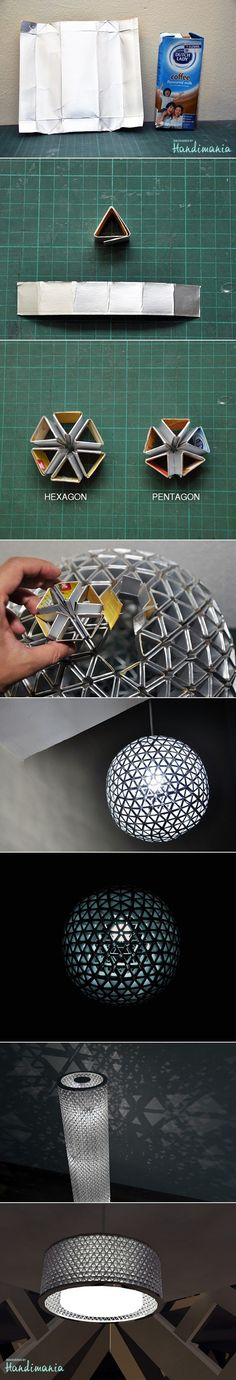 Tetra Pak Origami Lamps - Looks like the Death Star. :)