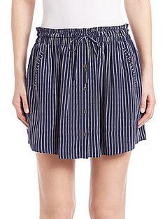 Joie Wendolyn Striped Silk Skirt - Dark Navy - Size