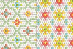 Hexagon Tile Patterns by scrapster on Creative Market
