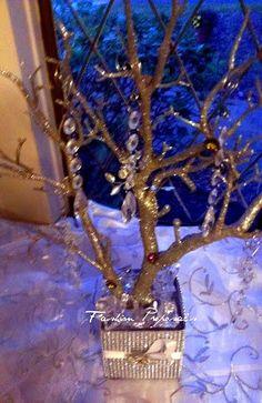Manzanita Silver Glitter Bling Centerpiece by FashionProposals, $45.00