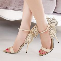 Beautiful Wings Design Apricot High Heels Fashion Sandals