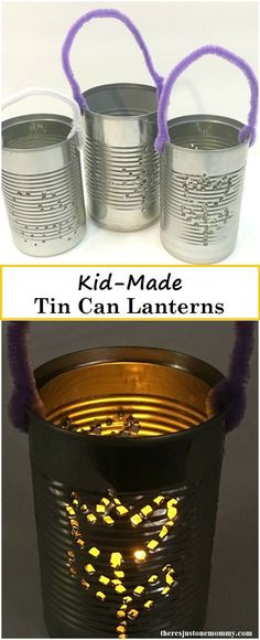 Capture the Magic with this Tin Can Lantern Kids Craft - - Capture the magic of lantern light with this kids craft and make your own Tin Can Lanterns. This craft is perfect for a party decoration or is a great Colonial America craft. Recycled Crafts Kids, Recycled Art Projects, Easy Crafts For Kids, Craft Projects, Simple Crafts, Craft Kids, Summer Crafts, Project Ideas, Food Art For Kids