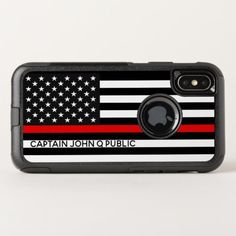 Thin Red Line American Flag w/ Name OtterBox Commuter iPhone X Case  firefighter tshirt, firefighter art, firefighter theme #fitforduty #fireschool #goals