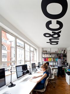 [Inspiration] Don't forget about the ceiling when designing your interior space! This simple graphic creates interest when placed above the work area. capital-imaging.com
