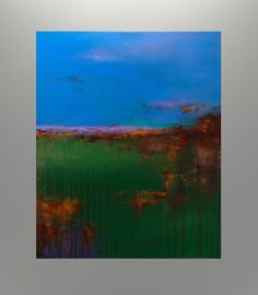 Contemporary BLUE Abstract Landscape Painting by JagodaModernArt, $268.00