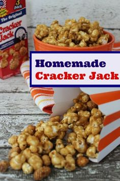 I LOVE this Homemade Cracker Jack Recipe!  It is perfect for a special snack or party!
