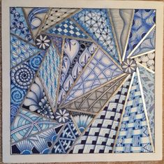 | Zentangle | Tangled Blues | Opus tile |I Teach Tangling | Zendoodle |