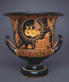 A red figure krater depicting Medea. The bodies of her two sons are on the platform beneath her. Medea's story was told by Euripides in his tragedy, Medea.