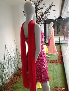 Shopping Window at Amarisso New York in Kifissia. Evening and cocktail dresses. Wedding gowns!