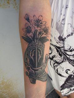 boot tattoo.  by: Austin Maples  austinmaplestattoos@yahoo.com