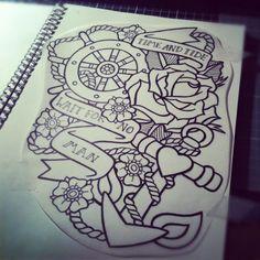 mermaid with anchor tattoos | tattoo # tattoo flash # anchors # sailors