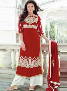 Kajal Aggarwal Red Georgette Palazzo Style Suit 87857