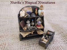 Wall cabinet for witch or wizard by Marike's Magical Miniatures - the Netherlands Witches/Miniatures/Magic/Doll house/Wizardy