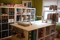 Craft room ideas. Wouuld LOVE to have this work table in my sewing/craft room!