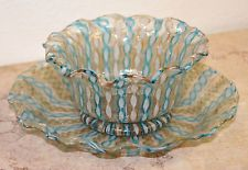 Venetian Swirling Art Glass Gold Flakes Decor Finger Bowl & Plate 20th century