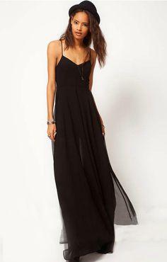 Vestido larga correa de espagueti espalda abierta-negro EUR€23.38