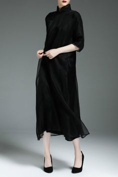 R&l Black Midi Swing Cheongsam Dress | Midi Dresses at DEZZAL Click on picture to purchase!