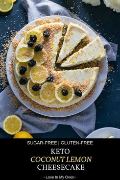 Hypoallergenic Pet Dog Food Items Diet Program Whether You're On The Keto Diet Or Not, You Will Love This Rich, Creamy, Lemony Coconut Cheesecake Made With A Grain-Free Almond Flour Crust And Garnished With Toasted Coconut Coconut Cheesecake, Best Cheesecake, Cheesecake Recipes, Cupcake Recipes, Cupcake Cakes, Dessert Recipes, Dessert Bread, Party Recipes, Breakfast Recipes