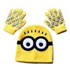 Hot ! Children's Cap + Gloves Hat Winter Cartoon Minions Glove Hats Sets Fashion Kids Baby Warm Knitted Caps Gloves Baby Beanies