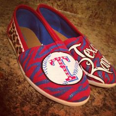 Texas rangers glitter and rhinestones hand painted canvas toms style shoes