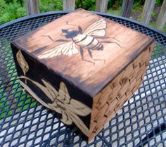 Sweet Honeybee and Lilies! Woodburned Magnetic Box- Made to Order on Etsy, $38.00