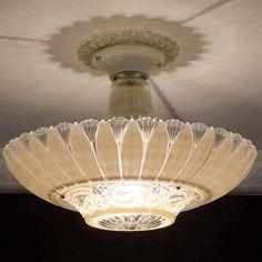 c.1930  Sculptured ART DECO CEILING LIGHT CHANDELIER  vintage lamp fixture glass