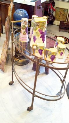 #table #furniture #vintage #decor #antique #serving #cart #glass