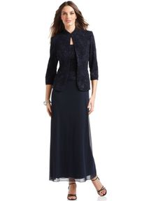 Alex Evenings Dress and Jacket, Glitter Accented - Mother of the Bride Dresses - Women - Macy's Mob Dresses, Junior Bridesmaid Dresses, Bride Dresses, Wedding Dresses, Grandma Dress, Mother Of Groom Dresses, Alex Evenings, Review Dresses, Complete Outfits