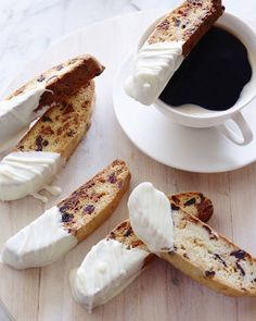 White Chocolate and Cranberry Biscotti with Coffee