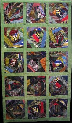 Denise Green, Antique Quilt Exhibit. Crazy quilt made from men's ties.