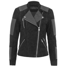 ONLY Womens Ava Suede Biker Jacket ($120) ❤ liked on Polyvore featuring outerwear, jackets, black, black jacket, black motorcycle jacket, biker jacket, suede moto jacket and quilted bomber jacket