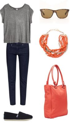 Grey t, skinny jeans, Ray Bans and a Mimco bag ... ME to a T!