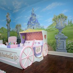 cinderella room- minus the bed and flower pots maybe a mural for Aubri's room