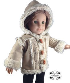 Chilly Day Sherpa Coat And Boots 18 inch Doll Clothes PDF Pattern Download | Pixie Faire