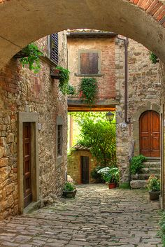 Picturesque medieval village of Montefioralle in Tuscany, Italy