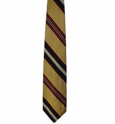 Robert Talbott Mens Gold Striped Finest 100% Silk Dress Neck Necktie Tie 58in #RobertTalbott #Tie