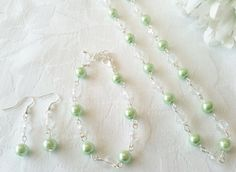 Mint Green Bridesmaid Jewelry Set Mint Green by InfinityByClaire, £10.00