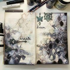 Art journal inspiration -  http://artistycrafty.blogspot.ie/2015/04/kawa-i-nozyczki-march-challenge-few.html