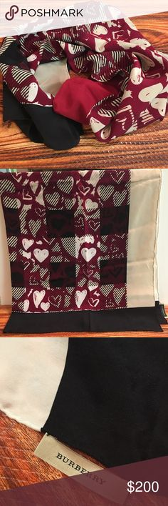 EUC 💗❤️ Burberry Heart silk scarf EUC 💗❤️ Burberry Heart silk scarf   Retired Style very rare never really used All offers are Welcome 😀 Burberry Accessories Scarves & Wraps