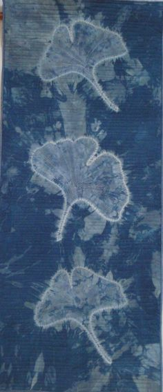Dee Nicholson, textile artist. Out of the blue - Ginkgo.