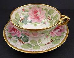 Antique Pouyat Limoges Tea Cup & Saucer