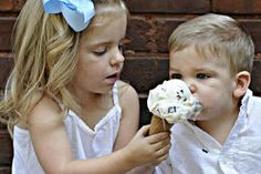 Ansley Carver, 3, gives her little brother, Blake, 1, a lick of ice cream from Ellen's on Capitol Street. Their mother, Michelle, brought them to downtown Charleston from Hurricane to have their picture taken by Brianna Atkins.