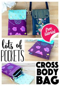 Lots of Pockets Cross Body Bag - Free Sewing Pattern! - - Lots of Pockets Cross Body Bag - Free Sewing Pattern! Lots of Pockets Cross Body Bag - Free Sewing Pattern! Free sewing pattern for an amazing crossbody bag! Bag Patterns To Sew, Sewing Patterns Free, Free Sewing, Purse Pattern Sewing, Handbag Patterns, Wallet Pattern, Sewing Hacks, Sewing Tutorials, Sewing Tips