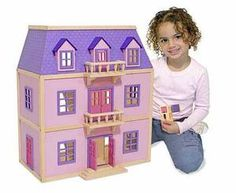 Multi-Level Solid Wood Dollhouse: This three-level wooden house is easy to assemble and in move-in condition. Five spacious rooms feature two movable staircases and five working exterior doors. Nineteen pieces of hand-painted furniture with working doors and drawers provide the finishing touch. Perfect for home or school.