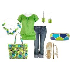 """Green & Blue"" by jklmnodavis on Polyvore"