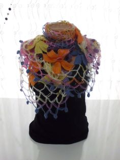COLORFUL SHAWL Handmade Flower Mohair Triangle by kKnittedFashion, $48.00