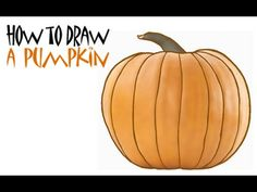 """Simple steps/ Light background music/ Good for those children having difficulty """"seeing"""" the objects and direction of line: How to Draw a Pumpkin - YouTube"""